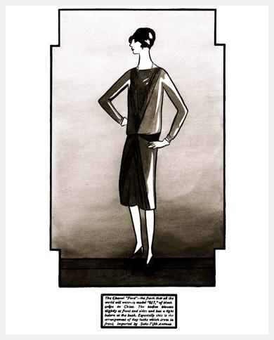 Эскиз маленького черного платья Шанель в журналеVogue (1926 год)