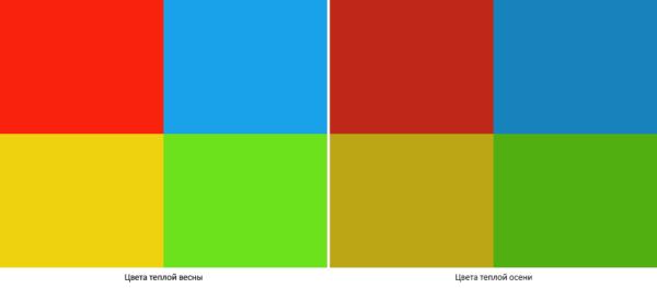 Сравнение цветов теплой весны и теплой осени