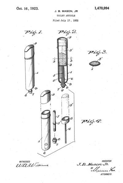 Схема тюбика Джеймса Брюса Мейсона младшего, 1923