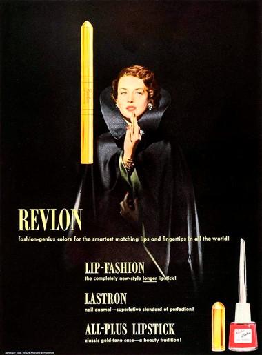 Реклама помады Revlon в удлиненном тюбике, 1948