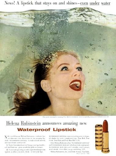 Реклама водостойкой помады Хелены Рубенштейн, 1956 год