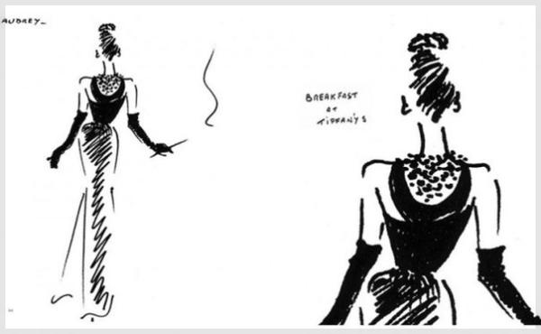 Эскиз платья, созданный Юбером де Живанши