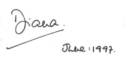 Подпись принцессы Дианы