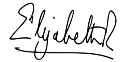 Подпись Елизаветы II