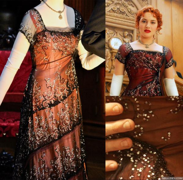 """Кораллово-черное вечернее платье Розы Дьюитт Бьюкейтер (Кейт Уинслет) из фильма """"Титаник"""" (1997 год)."""
