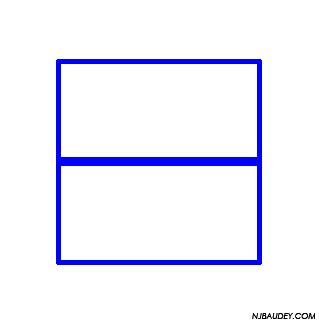 квадрат, разделенный горизонтальной линией