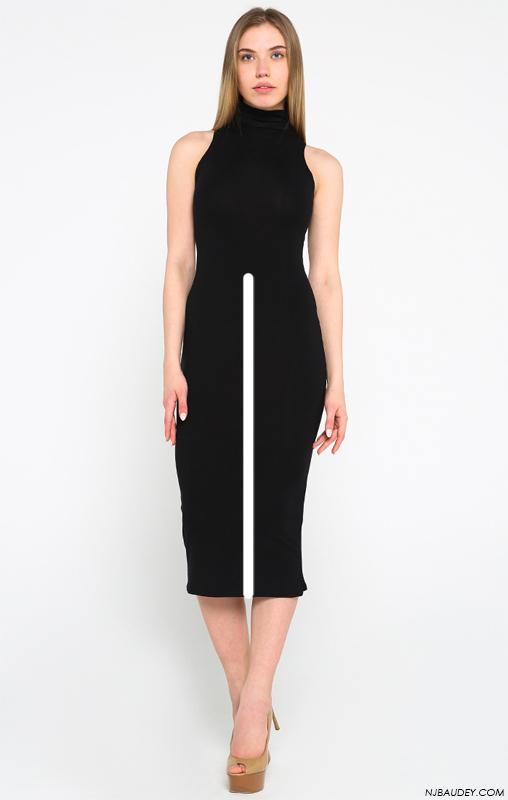 черное платье с белой линией в нижней половине