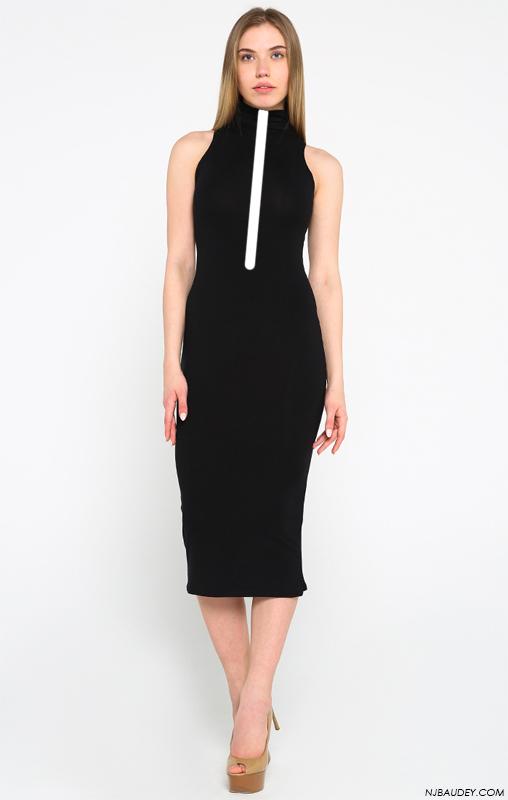 черное платье с белой вертикальной линией в верхней половине