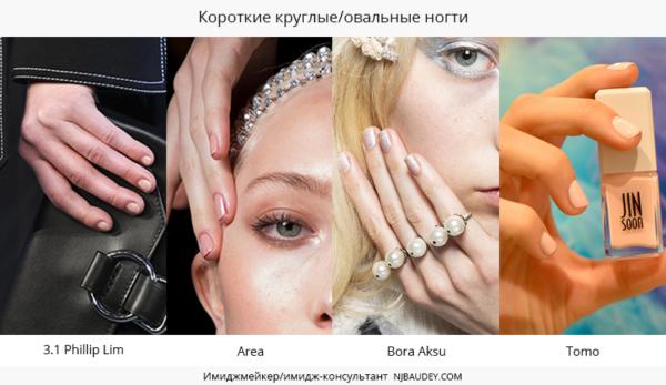 Короткие круглые/овальные ногти