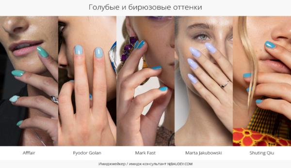 Голубые и бирюзовые оттенки модный маникюр весны-лета 2020