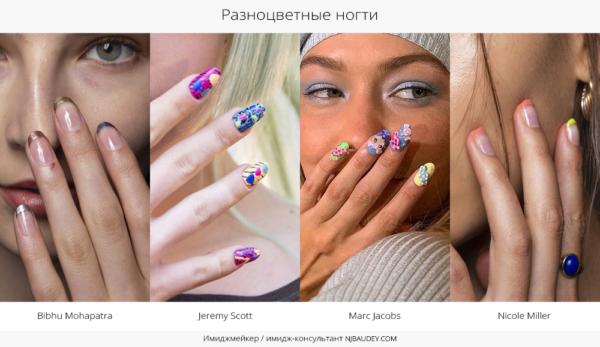 Разноцветные ногти модный маникюр весны-лета 2020