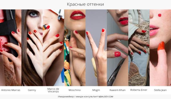 красные оттенки модный маникюр весны-лета 2020
