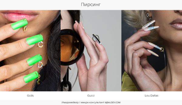пирсинг модный маникюр весны-лета 2020