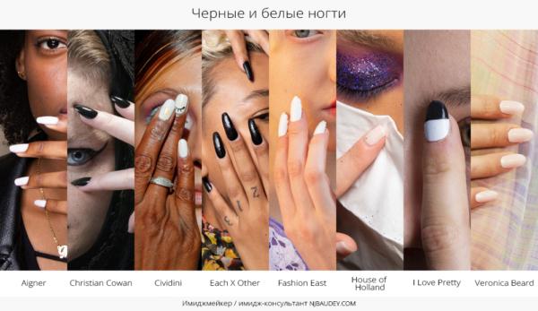 черные и белые ногти модный маникюр весны-лета 2020